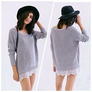 Pins & Needles Lace Hem Pullover Oversized Sweater
